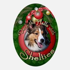 DeckHalls_Shelties Oval Ornament