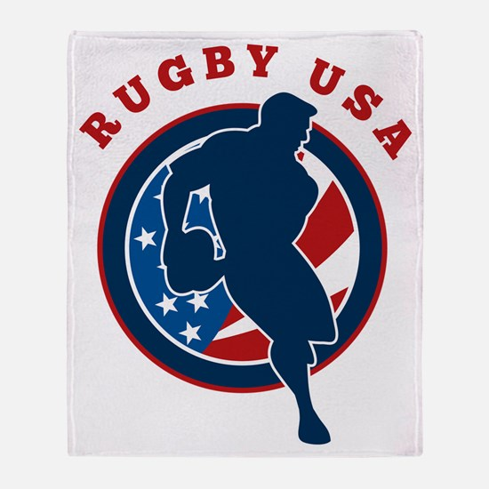 rugby player flag usa united states Throw Blanket
