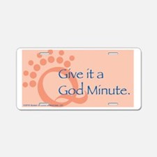 God Minute Pink Aluminum License Plate