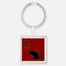 rat_10x10_bw_red Square Keychain