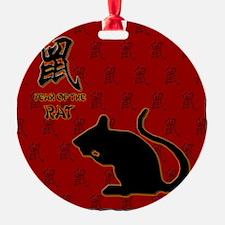 rat_10x10_bw_red Ornament