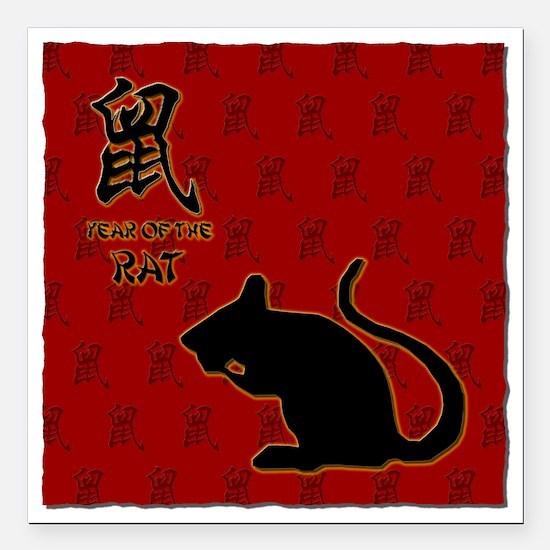 "rat_10x10_bw_red Square Car Magnet 3"" x 3"""