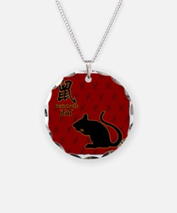 rat_10x10_bw_red Necklace