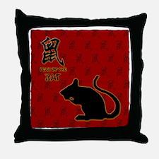 rat_10x10_bw_red Throw Pillow