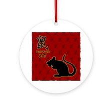 rat_10x10_bw_red Round Ornament