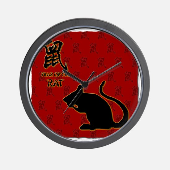 rat_10x10_bw_red Wall Clock