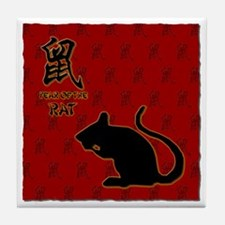 rat_10x10_bw_red Tile Coaster