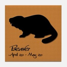 beaver_10x10_colour Tile Coaster