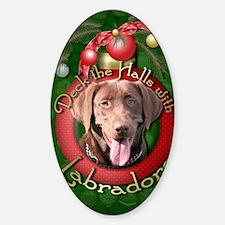 DeckHalls_Labradors_Chocolate Sticker (Oval)
