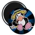"Beach Penguin Cute Cartoon 2.25"" Magnet (10 pack)"