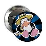 "Beach Penguin Cute Cartoon 2.25"" Button (100 pack)"
