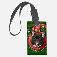DeckHalls_Frenchies_Teal Luggage Tag