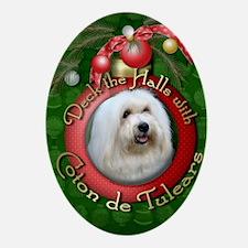 DeckHalls_Coton_de_Tulear Oval Ornament