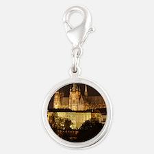 prague castle night Silver Round Charm
