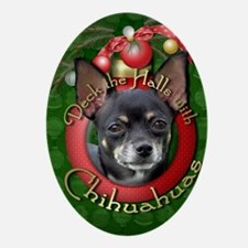 DeckHalls_Chihuahuas_Isabella Oval Ornament