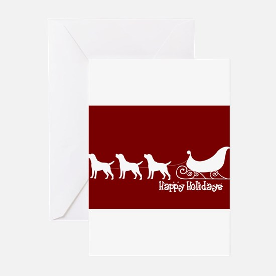 "Lab ""Sleigh"" Greeting Cards"