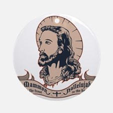 jesus-mullet-T Round Ornament