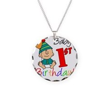 Babys First Birthday Necklace Circle Charm