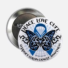 "Colon-Cancer-Butterfly-Tribal-2 2.25"" Button"