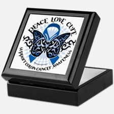 Colon-Cancer-Butterfly-Tribal-2 Keepsake Box