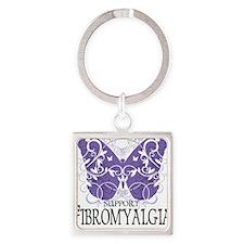 Fibromyalgia-Butterfly Square Keychain