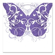 "Fibromyalgia-Butterfly-b Square Car Magnet 3"" x 3"""