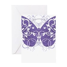 Fibromyalgia-Butterfly-blk Greeting Card