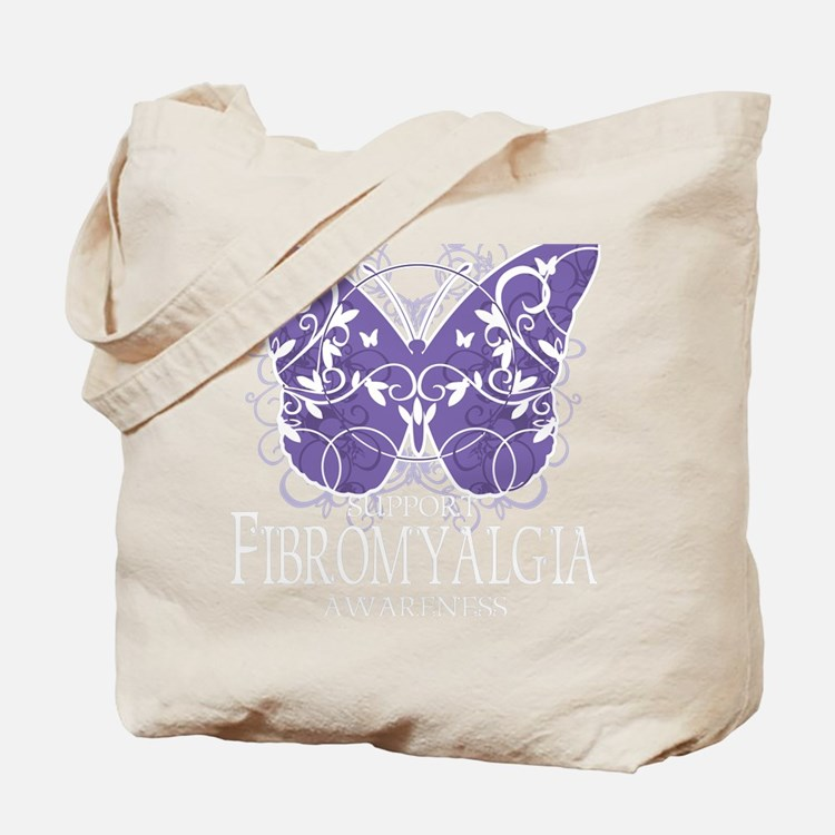 Fibromyalgia-Butterfly-blk Tote Bag