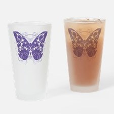 Fibromyalgia-Butterfly-blk Drinking Glass