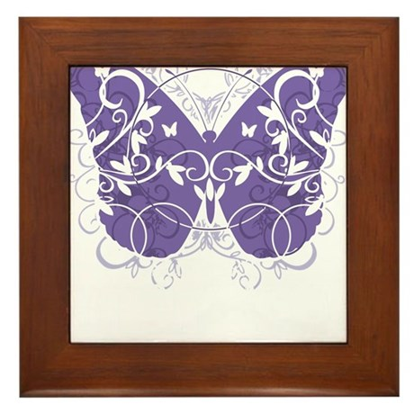 Fibromyalgia-Butterfly-blk Framed Tile