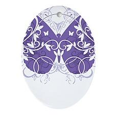 Fibromyalgia-Butterfly-blk Oval Ornament