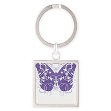 Fibromyalgia-Butterfly-blk Square Keychain