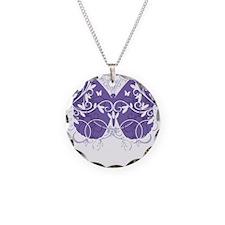 Fibromyalgia-Butterfly-blk Necklace