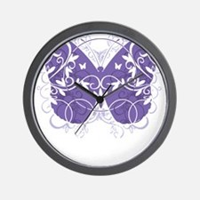 Fibromyalgia-Butterfly-blk Wall Clock