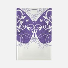 Fibromyalgia-Butterfly-blk Rectangle Magnet