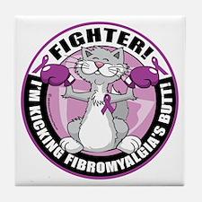 Fibromyalgia-Fighter-Cat Tile Coaster