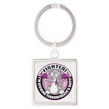Fibromyalgia-Fighter-Cat Square Keychain