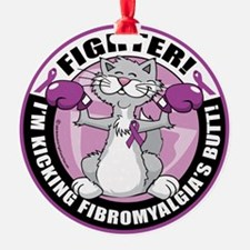 Fibromyalgia-Fighter-Cat Ornament