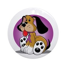 Fibromyalgia-Dog-blk Round Ornament