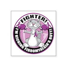 "Fibromyalgia-Fighter-Cat Square Sticker 3"" x 3"""