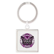 Fibromyalgia-Butterfly-Tribal-blk Square Keychain