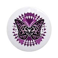 Fibromyalgia-Butterfly-Tribal-blk Round Ornament