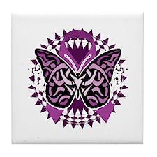 Fibromyalgia-Butterfly-Tribal-blk Tile Coaster