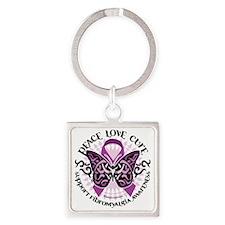 Fibromyalgia-Butterfly-Tribal Square Keychain