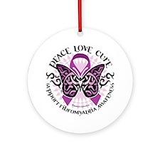 Fibromyalgia-Butterfly-Tribal Round Ornament