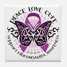 Fibromyalgia-Butterfly-Tribal Tile Coaster