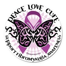 Fibromyalgia-Butterfly-Tribal Round Car Magnet