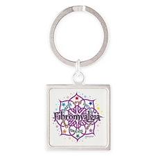 Fibromyalgia-Lotus Square Keychain