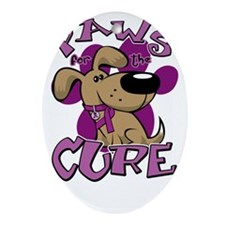 Paws-for-the-Cure-Fibromyalgia-blk Oval Ornament