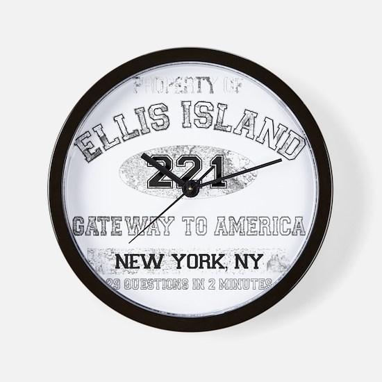 ellis island dark Wall Clock